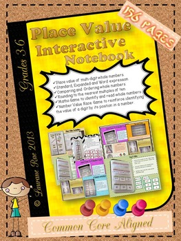 PLACE VALUE:  INTERACTIVE NOTEBOOK ACTIVITIES {Multi-digit Whole Numbers}