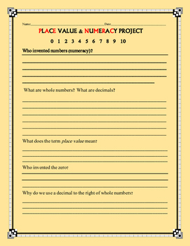 PLACE VALUE & NUMERACY PROJECT