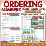 PLACE VALUE ORDERING NUMBERS PRINT & DIGITAL GOOGLE CLASSR