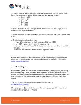 PLACE VALUE PART 2: ORDERING DECIMAL NUMBERS  USING BASE 10 BLOCKS