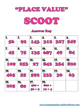"""PLACE VALUE"" Scoot"