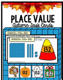 PLACE VALUE TASK CARDS Hundreds Tens and Ones AUTUMN Theme with Data