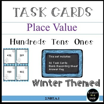 PLACE VALUE/TASK CARDS/WINTER THEMED/GRADES 1-2