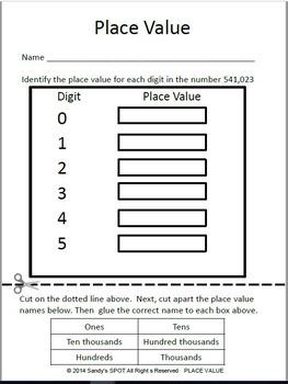 TEI Technology Enhanced Item Printable Practice PLACE VALUE VERSION 2 VA SOL 3.1