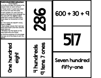PLACE VALUE WAR Card Game