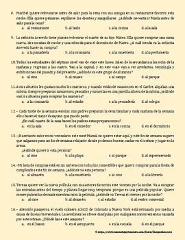 PLACES AND STORES IN SPANISH - INTERPRETIVE READING-25 MULTIPLE CHOICE QUESTIONS