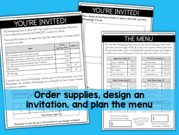 PLAN A PARTY Project Based Learning PBL Math Activity