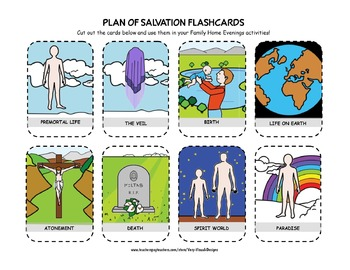 PLAN OF SALVATION FLASHCARDS Latter-day Saints LDS Mormon FHE Activity Cards