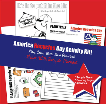 Coloring & Game Activity Kit Set America Recycles Day PLANETPALS Recycle Michael