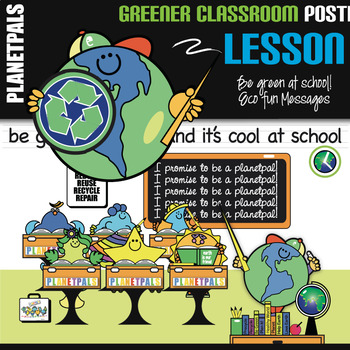 Classroom POSTER Be Green  at School is Cool Eco Friendly Earth Theme