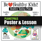 Healthy Food Plate Lesson Bulletin Board POSTER Food Nutrition w CleanJean
