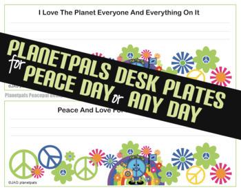 World Peace Activity Classroom Desk Plates Bookmarks PEACE DAY Theme