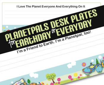 Earthday Earth Theme Classroom Desk Plates Learn w Planetpals