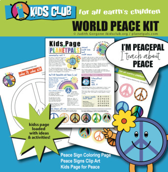 PeacePal Activity Set Color Peace Day Any Day Sign Clip Art Kids Lesson Plan