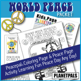 Peace Day Activity Puzzle & Coloring Fun Fact Set World Peace Pal Teaches Love