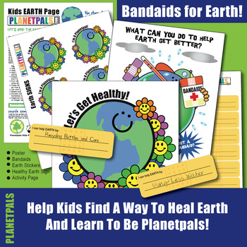 Earth Day Save Earth Bandaids Healthy Planet Activity Interactive Lesson DIGITAL