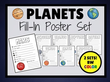 PLANETS Fill In Research POSTERS (BW & COLOR)