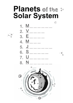 PLANETS and NAMES worksheets ( SOLAR SYSTEM )