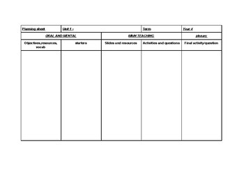 PLANNING GRID TEMPLATE