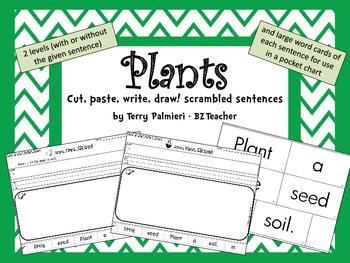 PLANTS ~ Cut, Paste, Write, Draw! Scrambled Sentences