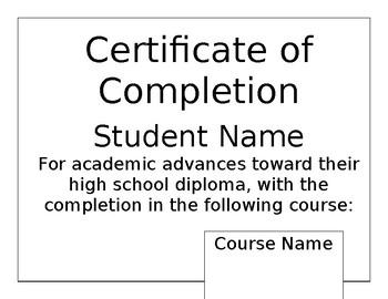 PLATO Completion Certificate