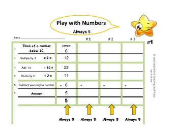 PLAY with Numbers ... Multi-step Problems ... FUN Worksheets | Gr 3-4-5 MATH