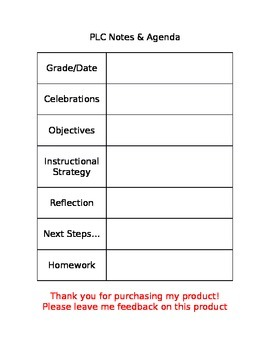 Plc forms and agenda teaching resources teachers pay teachers plc agenda template plc agenda template maxwellsz