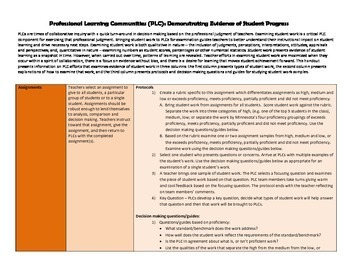 Professional Learning Community (PLC) Processes for Examining Student Work