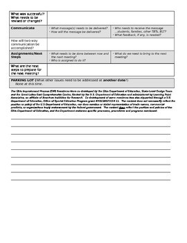 PLC Professional Learning Community 5 Step Plan form