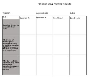 PLC - Small Group Planning Template