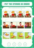 BUNDLE: PUT STORIES IN ORDER, 4 pictures sequencing, sequence, speech, autism