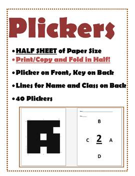 PLICKERS: Half Size Print & Fold with Key & Line for Name/Class on Back for 40