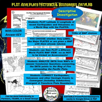 PLOT Real PLATE Tectonics!-2017 Volcanoes & Earthquakes DataLAB w FREEBIES!!