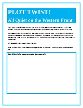 PLOT TWIST!  All Quiet on the Western Front