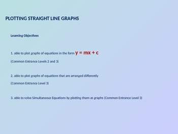 PLOTTING STRAIGHT LINE GRAPHS 1