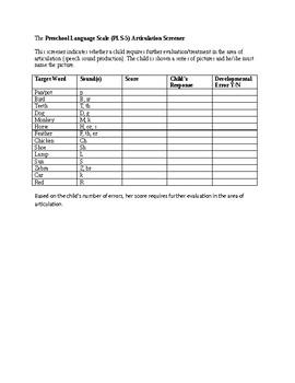 Speech Therapy-PLS-5 Articulation Screener