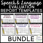 Speech & Language Standardized Evaluation Report Templates BUNDLE
