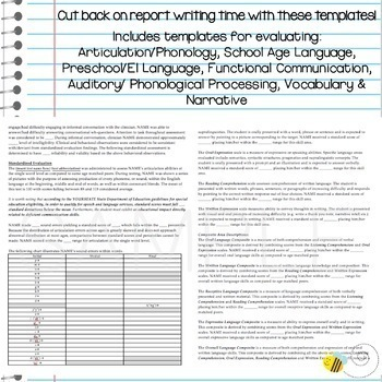 Language Standardized Evaluation Report Template Bundle