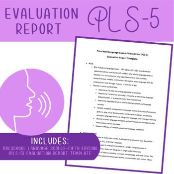 PLS-5: Speech and Language Assessment Report Template