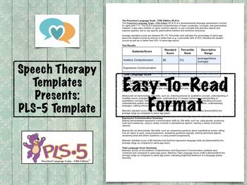 PLS-5 Template | Speech Therapy Assessment