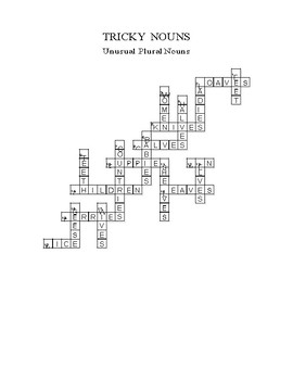 PLURAL NOUNS CROSSWORD PUZZLE