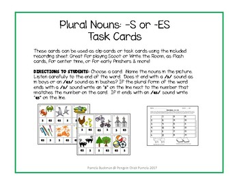 PLURAL NOUNS: Choosing -s or -es Task Cards - Mini Clip Cards