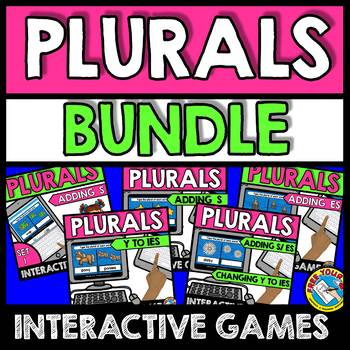 BOOM CARDS BUNDLE OF GRAMMAR ACTIVITIES (PLURAL NOUNS ADDING -S AND -ES AND Y)