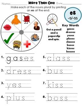 Plural Nouns Regular -ES ending Worksheets Distance Learning   TpT
