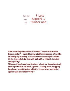 PLett's Algebra 1 Before School Starts Unit