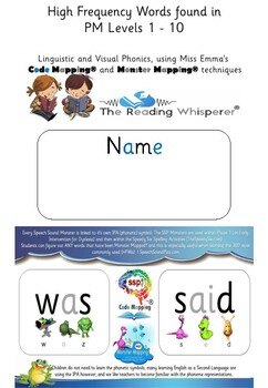 PM Levels 1 - 10 Sight Words - Code Mapped® & Monster Mapped® - Student Booklet