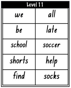 PM Sight Word Cards Level 11-17