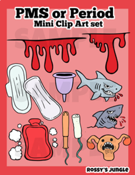PMS Period or Menstruation Clip Art Mini set A