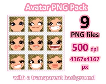 ♡ PNG Pack 81 avatars. Girl Faces. Wavy Blonde, Brown eyes