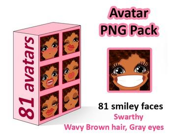 ♡ PNG Pack 81 avatars. Girl Faces. Wavy Brown hair Gray eyes